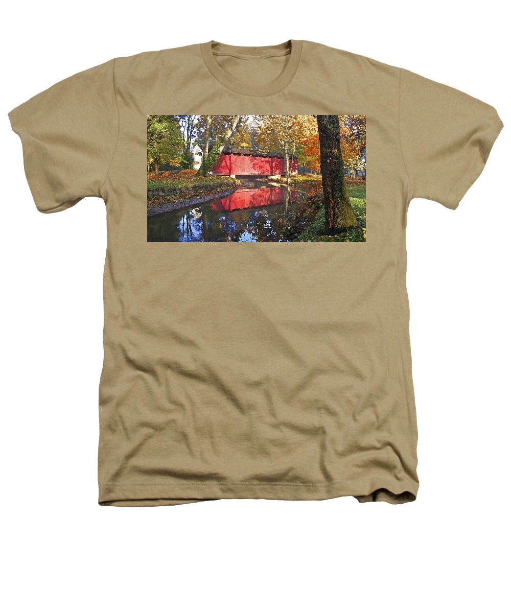 Covered Bridge Heathers T-Shirt featuring the photograph Autumn Sunrise Bridge by Margie Wildblood
