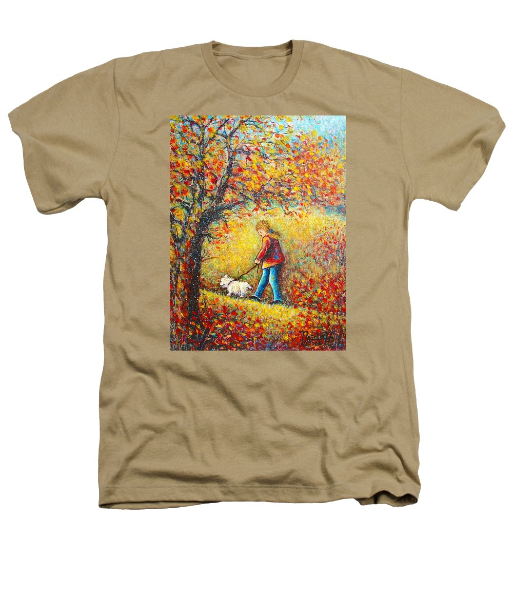 Landscape Heathers T-Shirt featuring the painting Autumn Walk by Natalie Holland