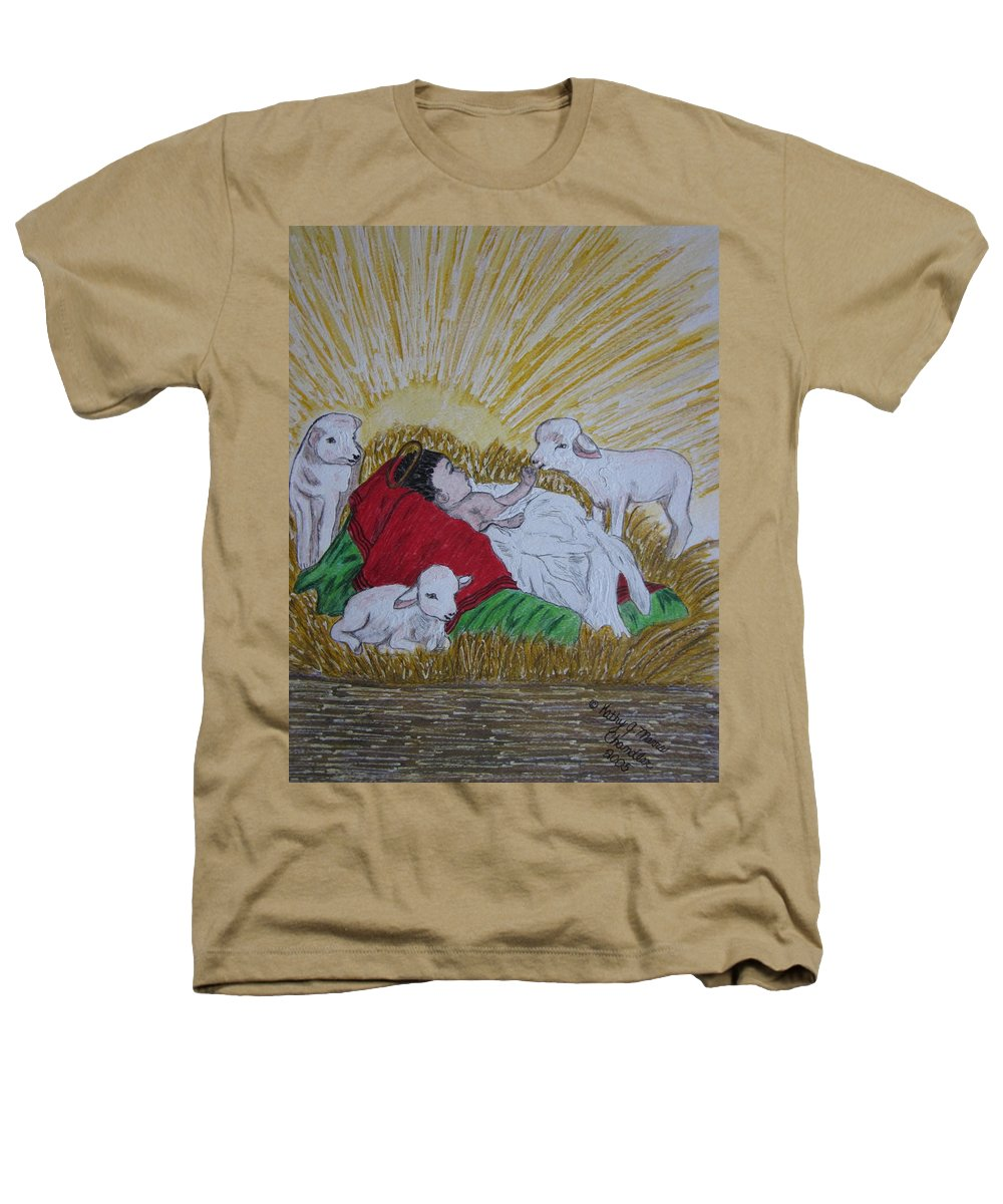 Saviour Heathers T-Shirt featuring the painting Baby Jesus At Birth by Kathy Marrs Chandler