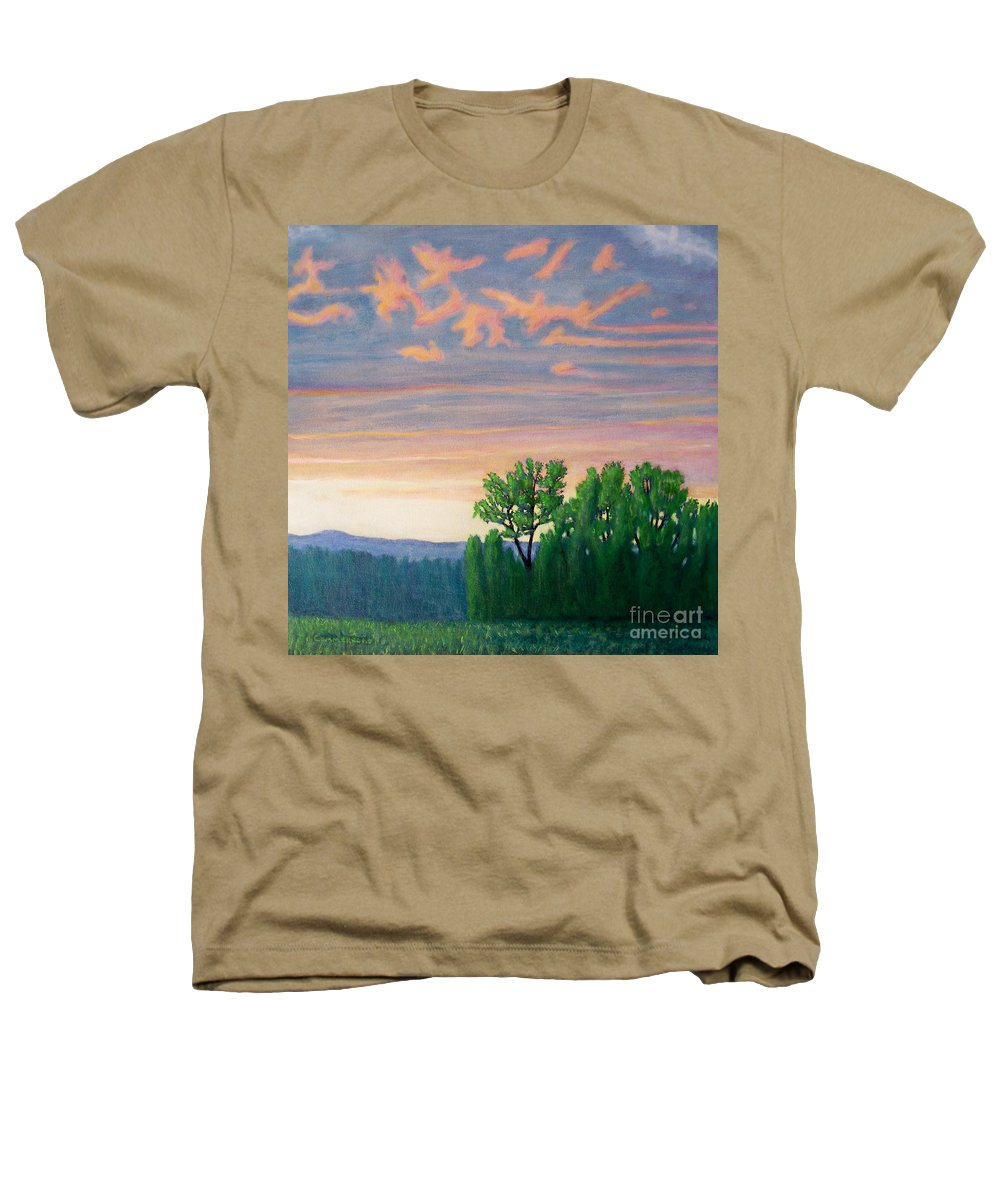 Landscape Heathers T-Shirt featuring the painting Balsa Road by Brian Commerford