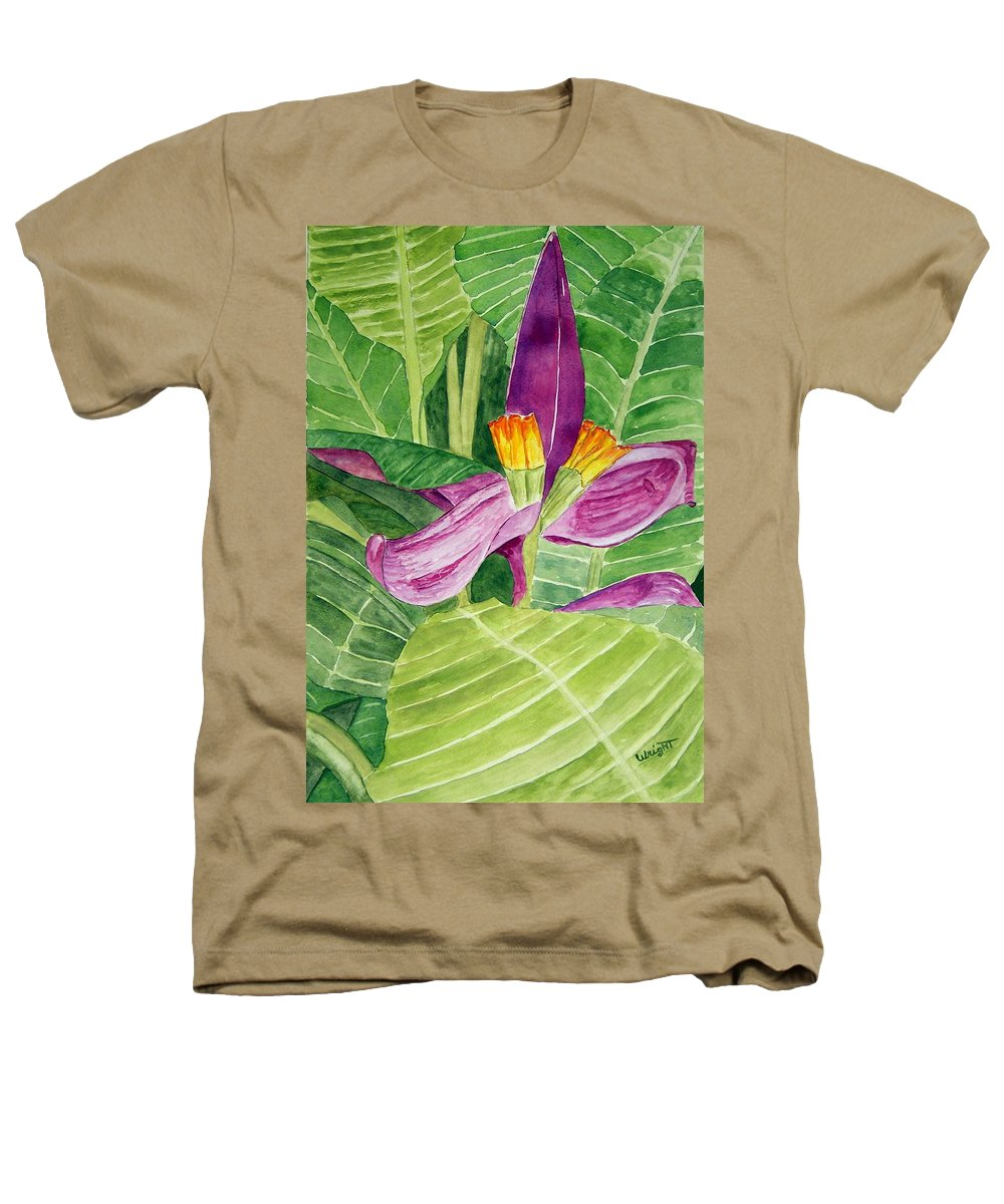 Flower Art Heathers T-Shirt featuring the painting Bananas In October by Larry Wright