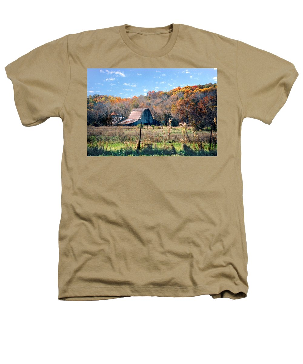 Landscape Heathers T-Shirt featuring the photograph Barn In Liberty Mo by Steve Karol