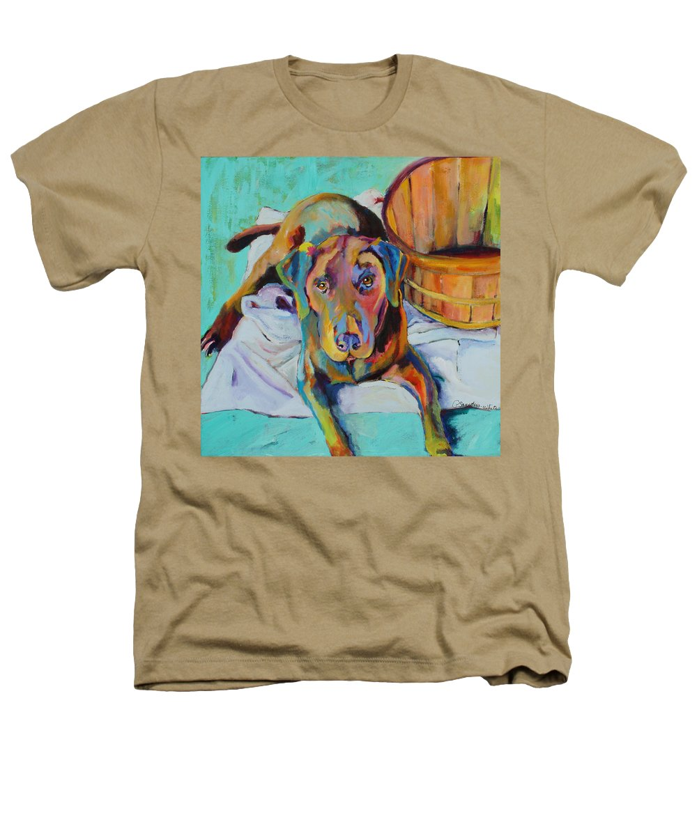Chocolate Lab Heathers T-Shirt featuring the painting Basket Retriever by Pat Saunders-White