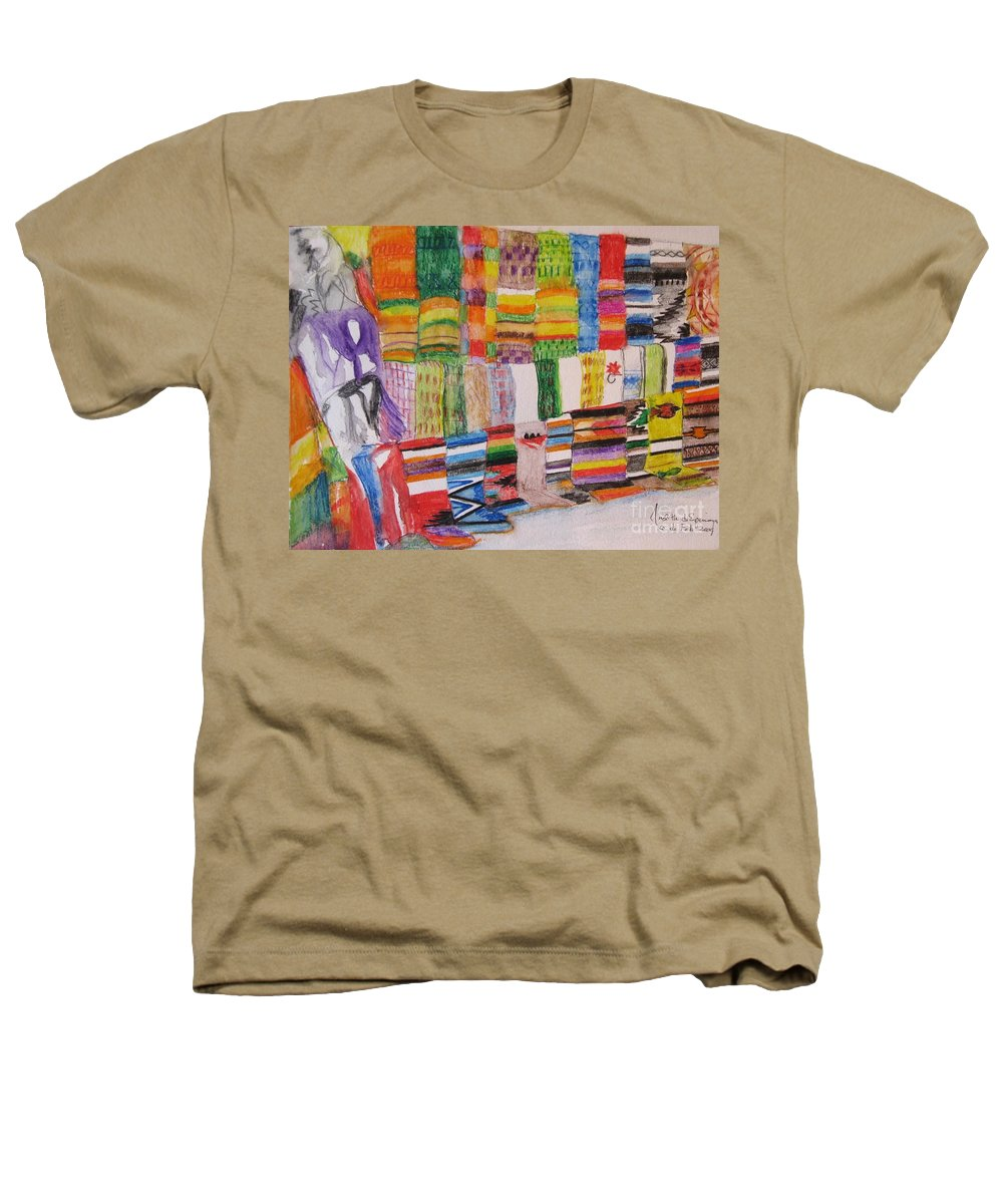 Bright Colors Heathers T-Shirt featuring the painting Bazaar Sabado - Gifted by Judith Espinoza