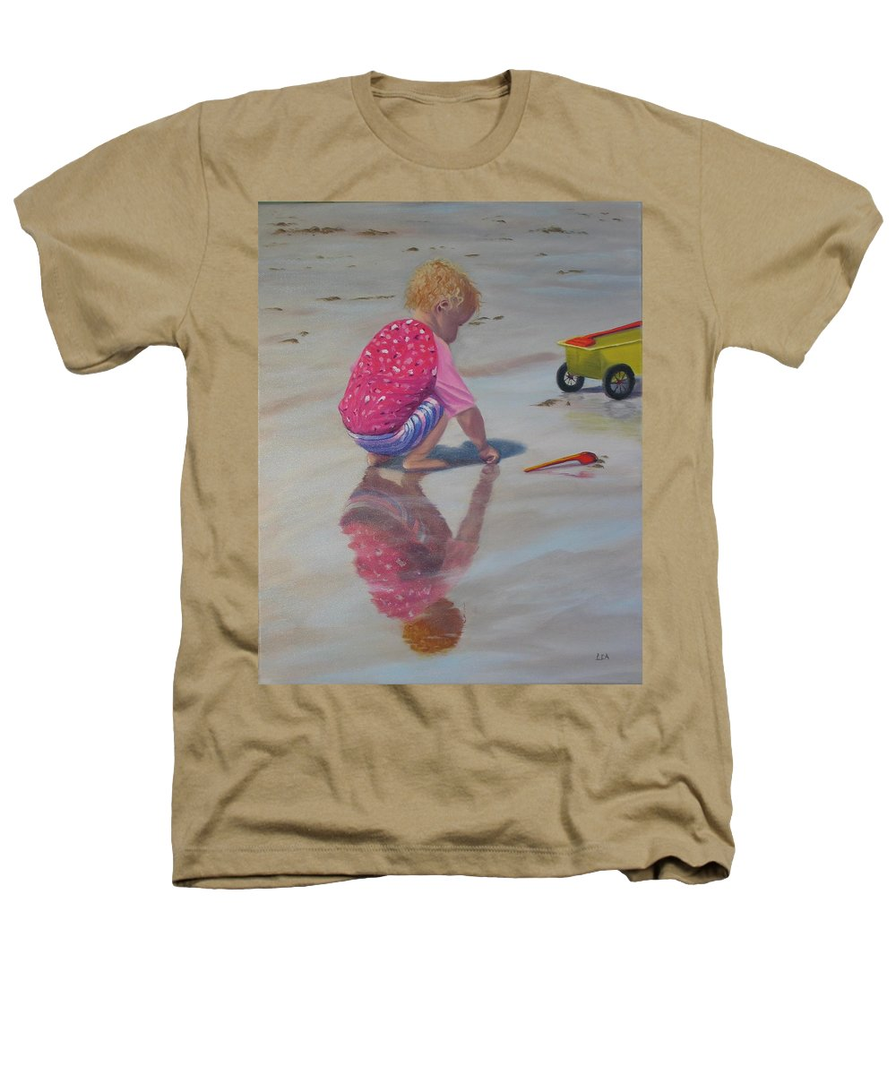 Baby Heathers T-Shirt featuring the painting Beach Baby by Lea Novak