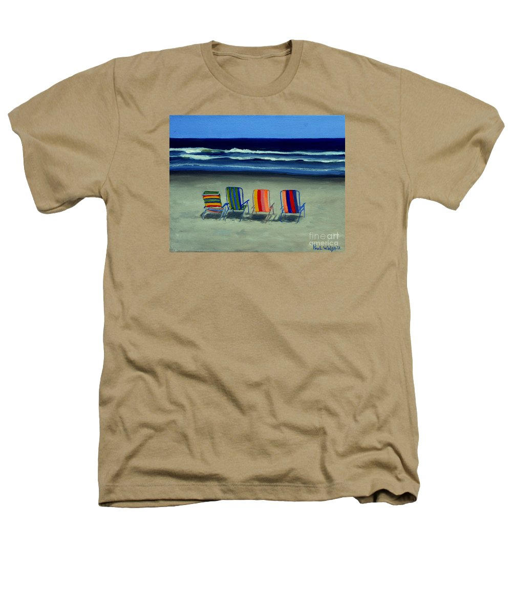 Beach Heathers T-Shirt featuring the painting Beach Chairs by Paul Walsh
