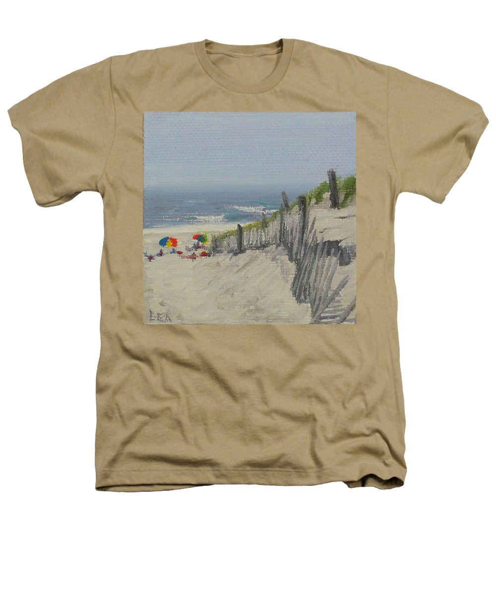 Beach Heathers T-Shirt featuring the painting Beach Scene Miniature by Lea Novak