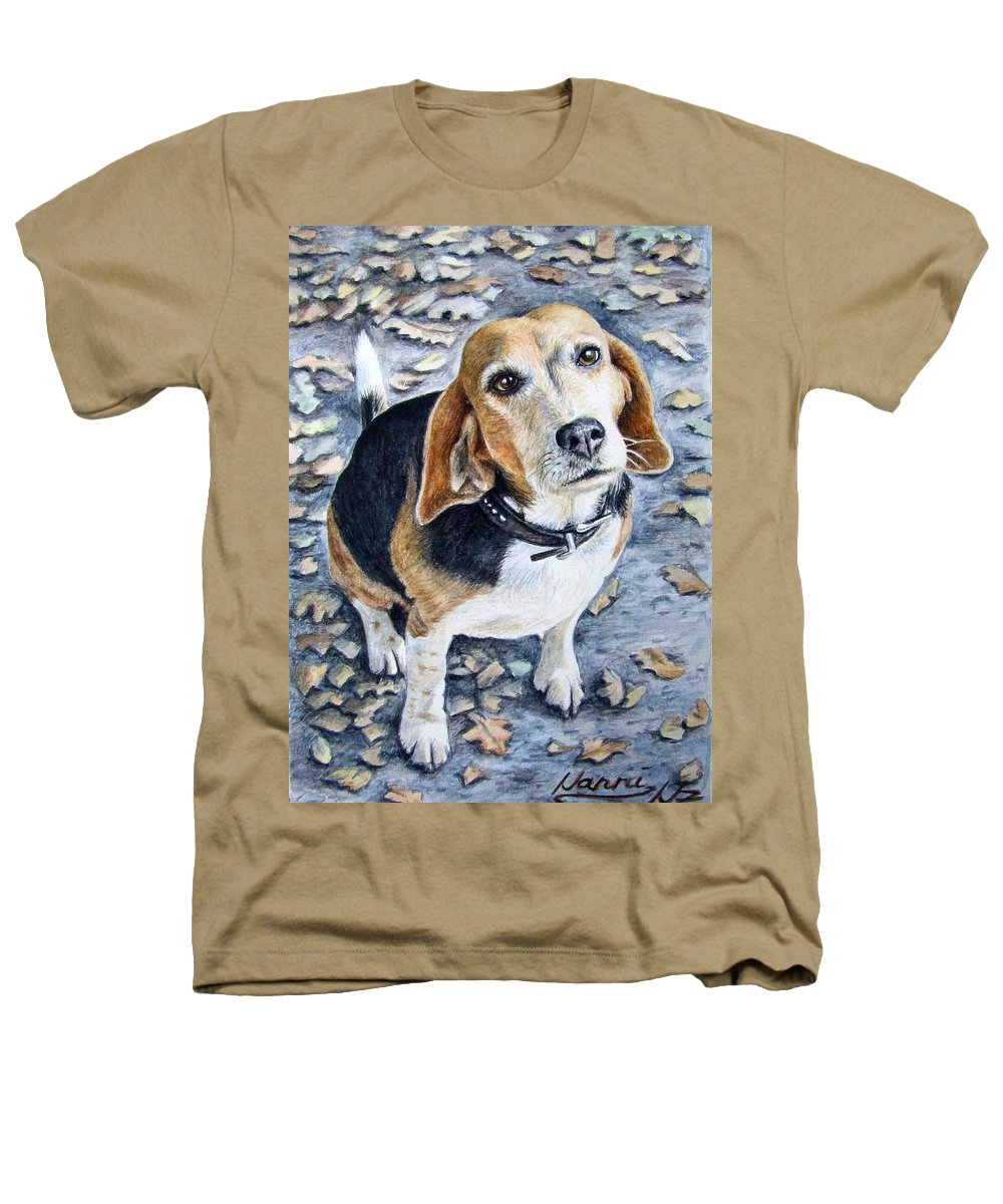 Dog Heathers T-Shirt featuring the painting Beagle Nanni by Nicole Zeug