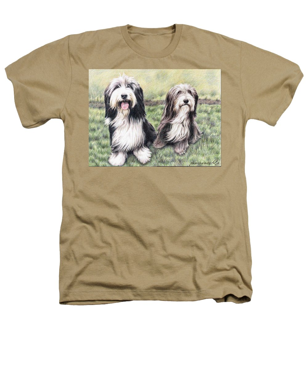Dogs Heathers T-Shirt featuring the drawing Bearded Collies by Nicole Zeug