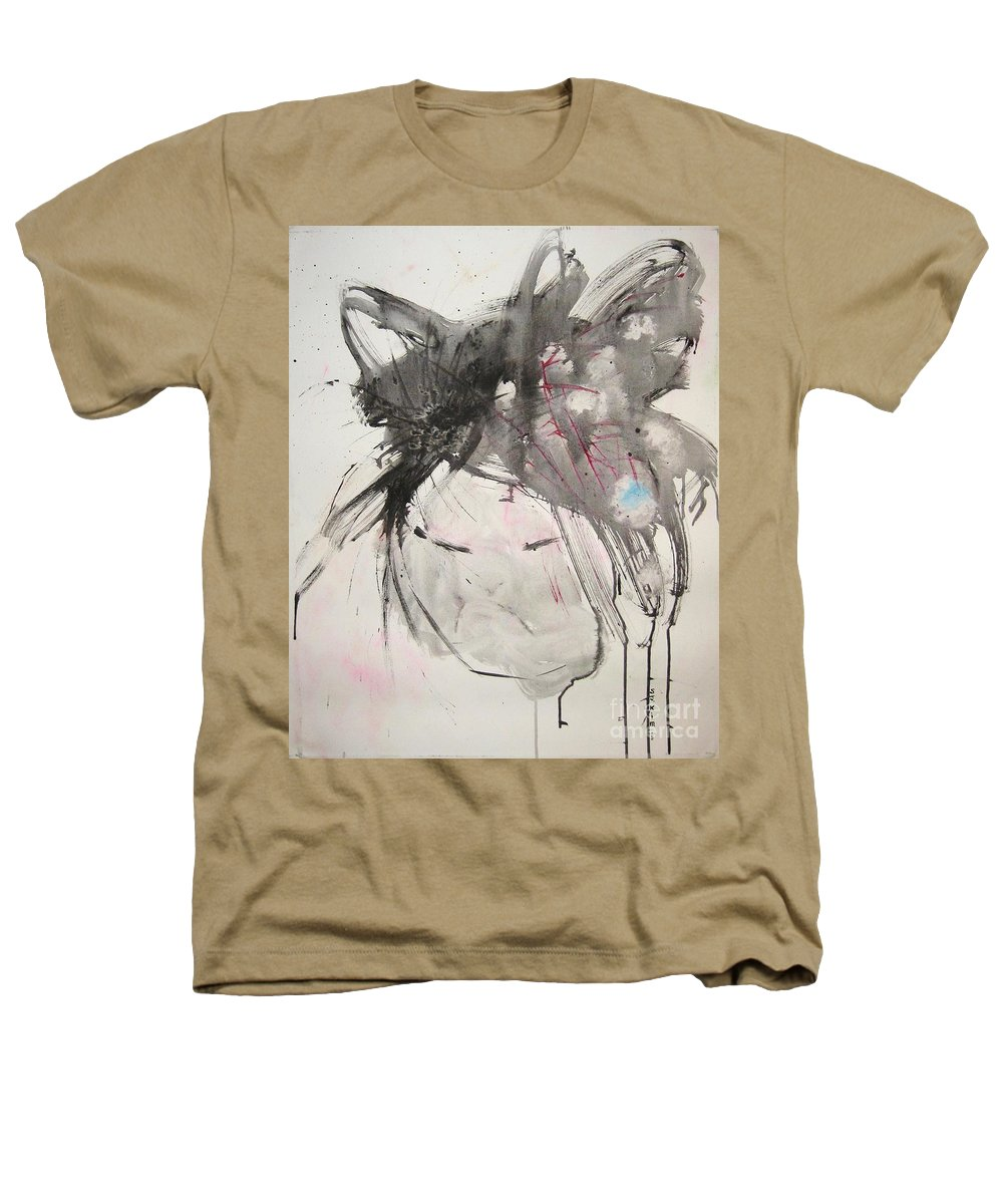 Black And White Paintings Heathers T-Shirt featuring the painting Being Patient by Seon-Jeong Kim