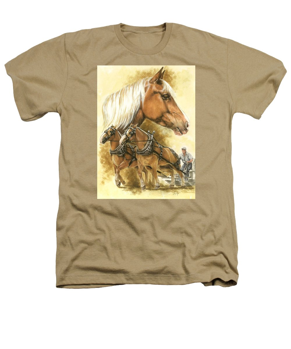 Equus Heathers T-Shirt featuring the mixed media Belgian by Barbara Keith