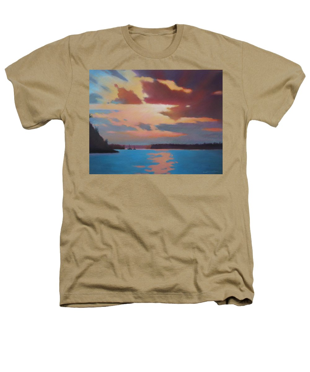 Bermuda Seascape Heathers T-Shirt featuring the painting Bermuda Sunset by Dianne Panarelli Miller
