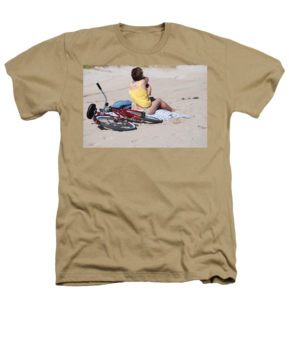 Red Heathers T-Shirt featuring the photograph Bike On The Beach by Rob Hans