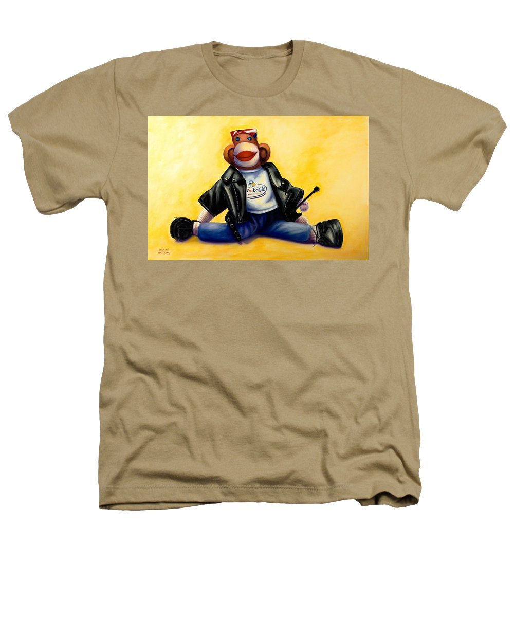 Sock Monkey Brown Heathers T-Shirt featuring the painting Biker Dude Made Of Sockies by Shannon Grissom