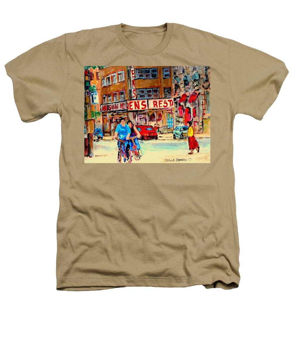 Montreal Heathers T-Shirt featuring the painting Biking Past Ben by Carole Spandau