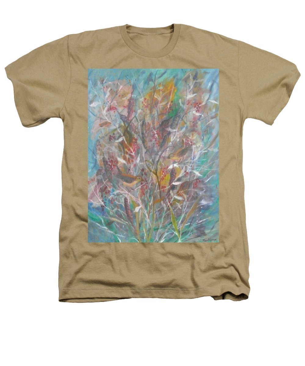 Birds Heathers T-Shirt featuring the painting Birds In A Bush by Ben Kiger
