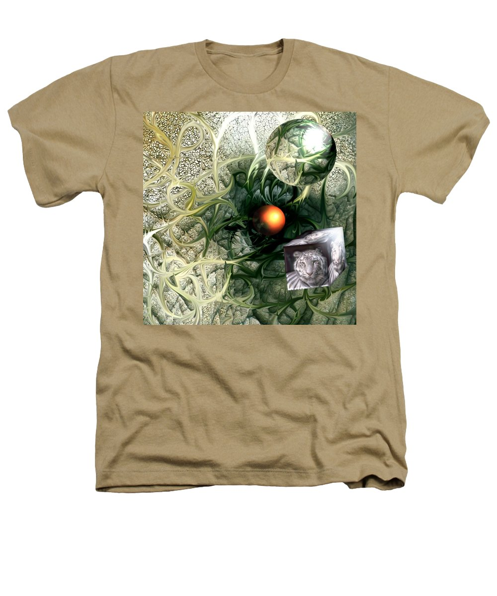 Abstract Nature Red Birth Tiger Spheres Wire Heathers T-Shirt featuring the digital art Birth by Veronica Jackson