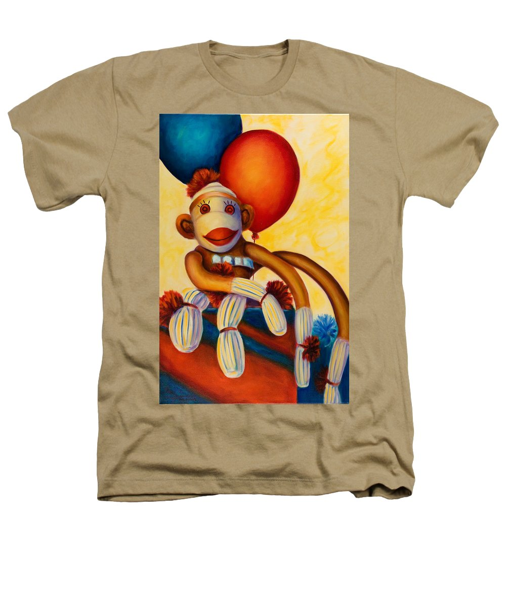 Sock Monkey Brown Heathers T-Shirt featuring the painting Birthday Made Of Sockies by Shannon Grissom