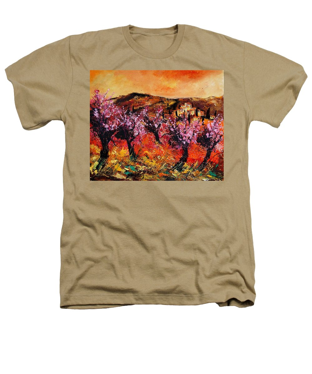 Provence Cherrytree Summer Spring Heathers T-Shirt featuring the painting Blooming Cherry Trees by Pol Ledent