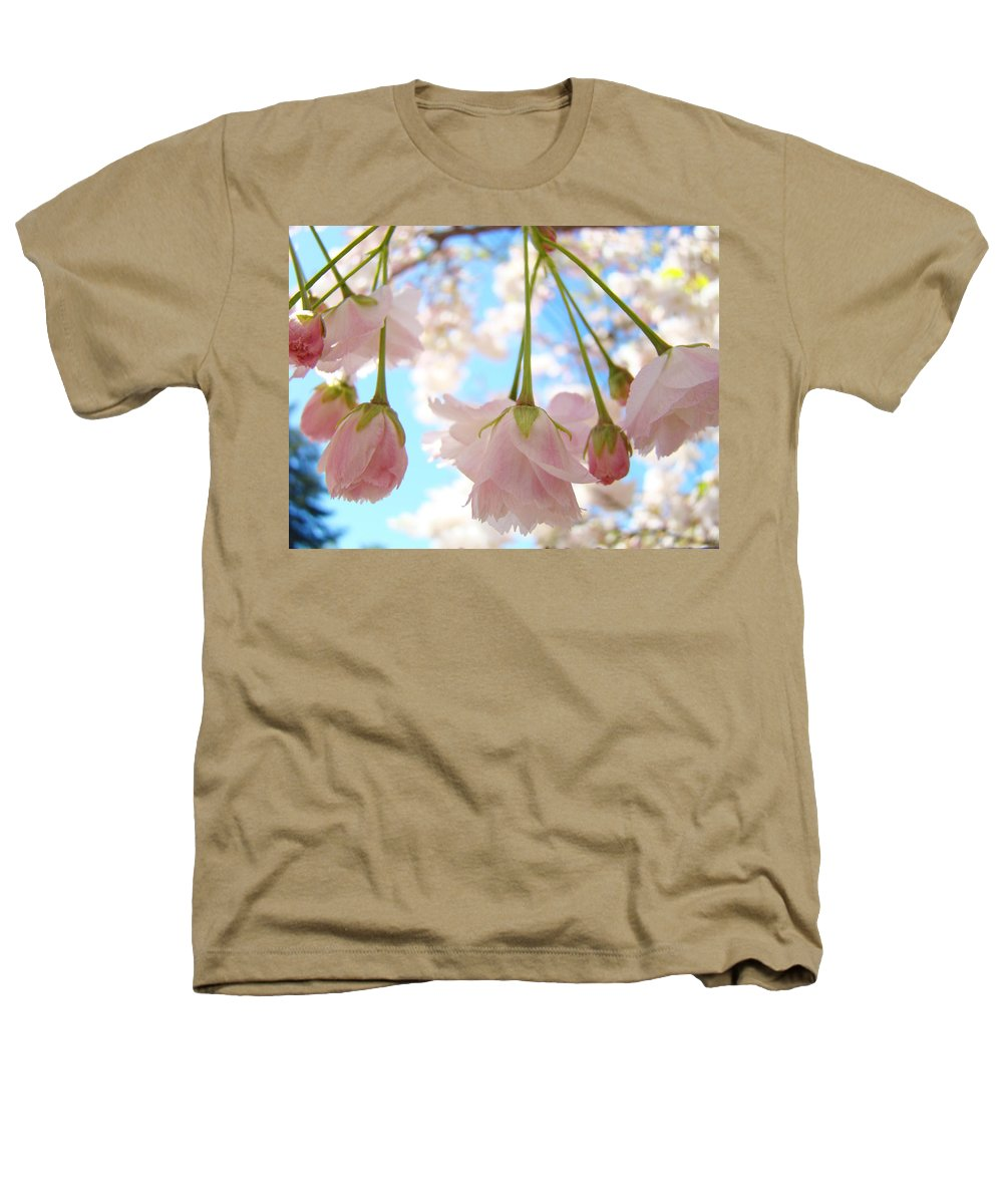 �blossoms Artwork� Heathers T-Shirt featuring the photograph Blossoms Art Prints 52 Pink Tree Blossoms Nature Art Blue Sky by Baslee Troutman