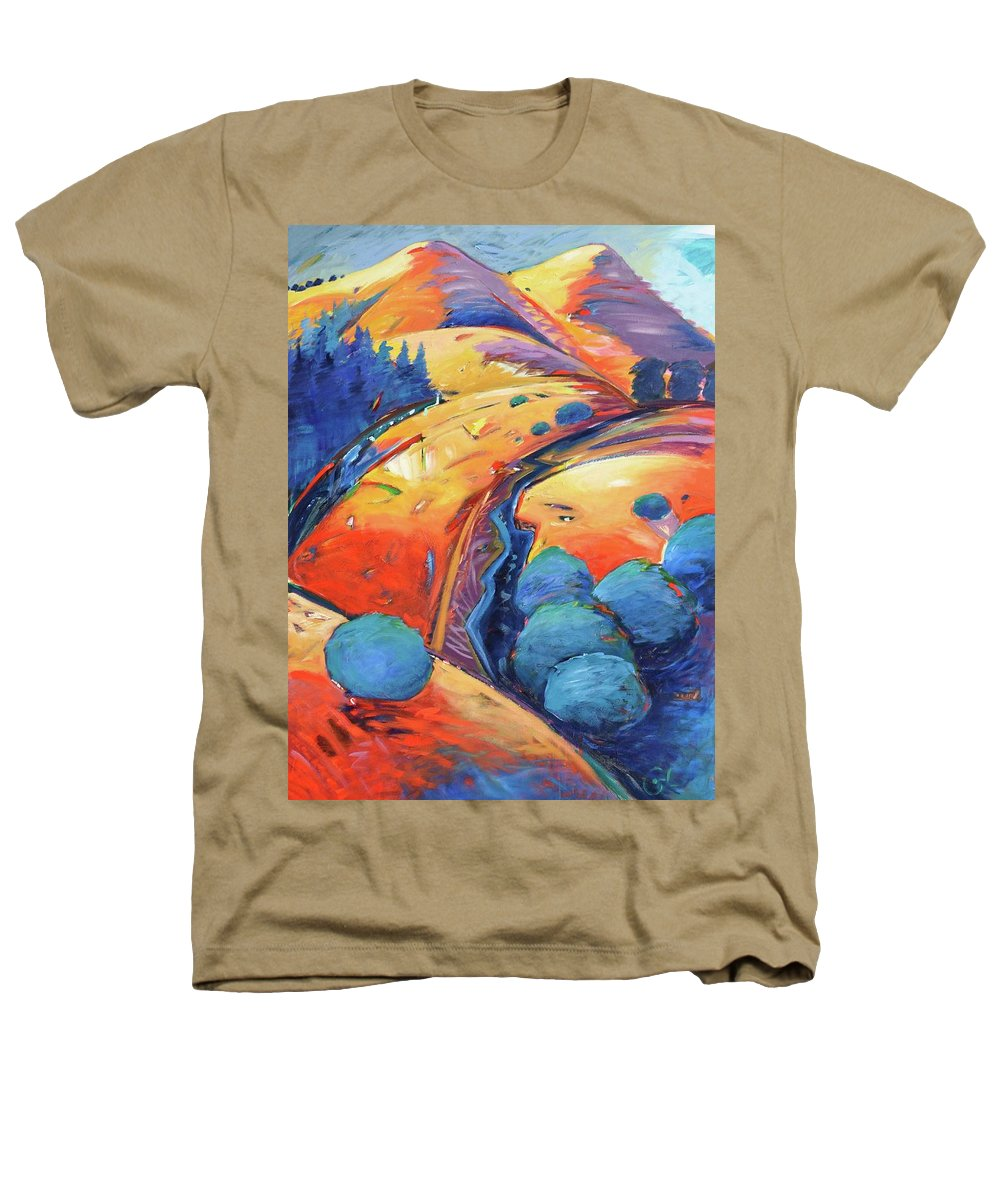 Hills Heathers T-Shirt featuring the painting Blue And Gold by Gary Coleman