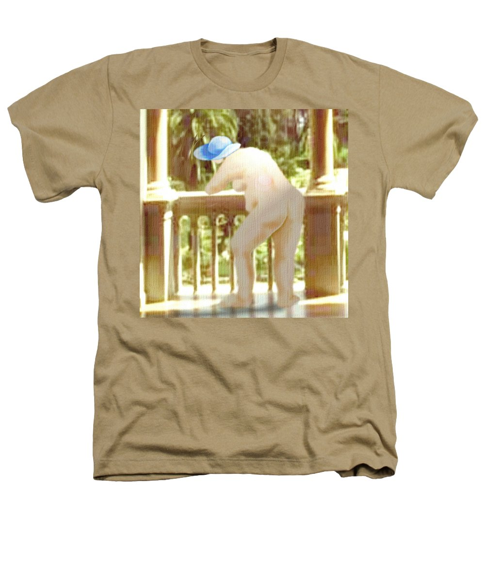 Woman Blue Hat Morning Nature Balcony Heathers T-Shirt featuring the digital art Blue Hat by Veronica Jackson
