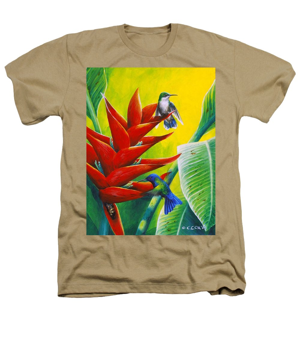 Chris Cox Heathers T-Shirt featuring the painting Blue-headed Hummingbirds And Heliconia by Christopher Cox