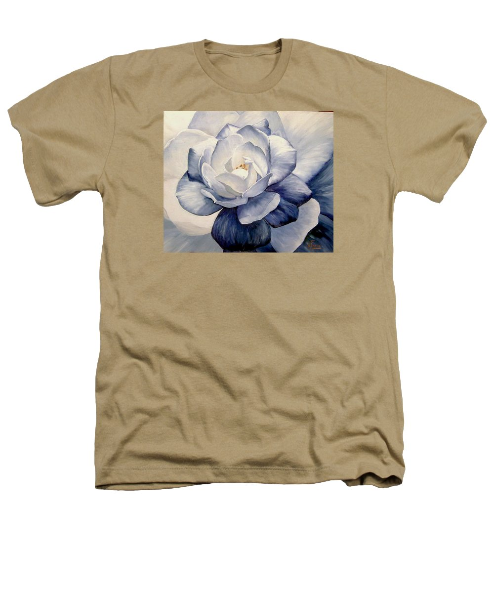 Flower Macro Nature Blue Gardenia Heathers T-Shirt featuring the painting Blue by Natalia Tejera