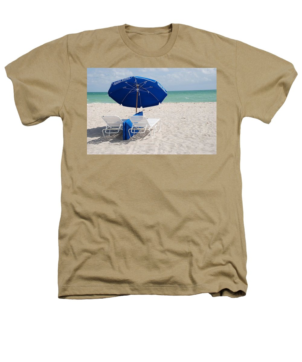 Sea Scape Heathers T-Shirt featuring the photograph Blue Paradise Umbrella by Rob Hans