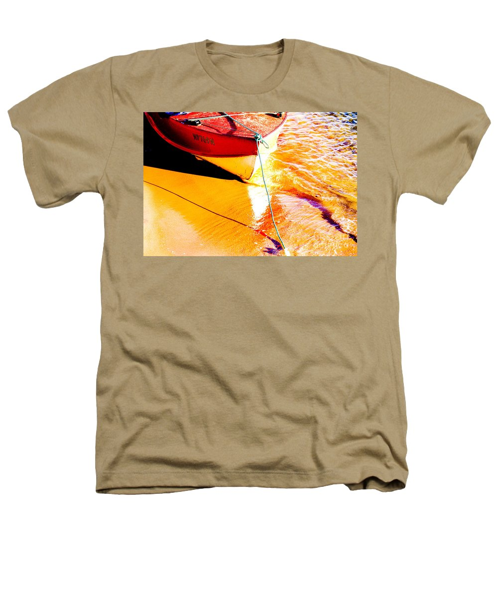 Boat Abstract Yellow Water Orange Heathers T-Shirt featuring the photograph Boat Abstract by Sheila Smart Fine Art Photography