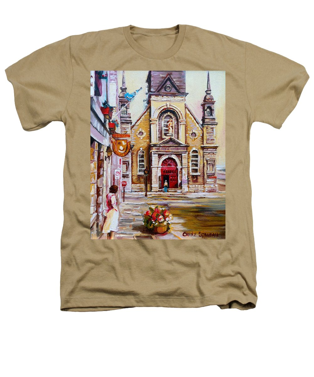 Montreal Churches Heathers T-Shirt featuring the painting Bonsecours Church by Carole Spandau