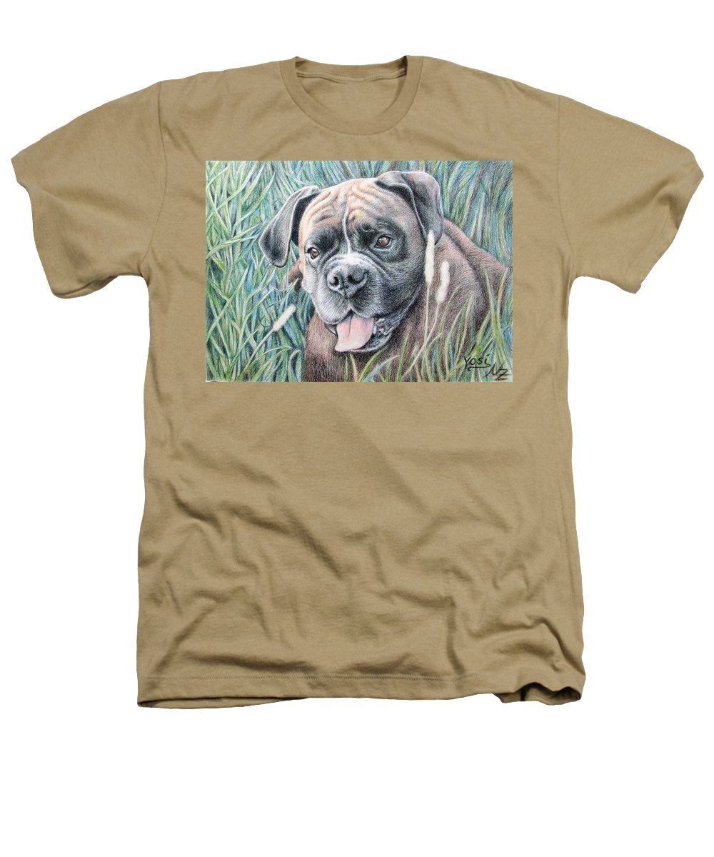 Dog Heathers T-Shirt featuring the drawing Boxer Yosi by Nicole Zeug