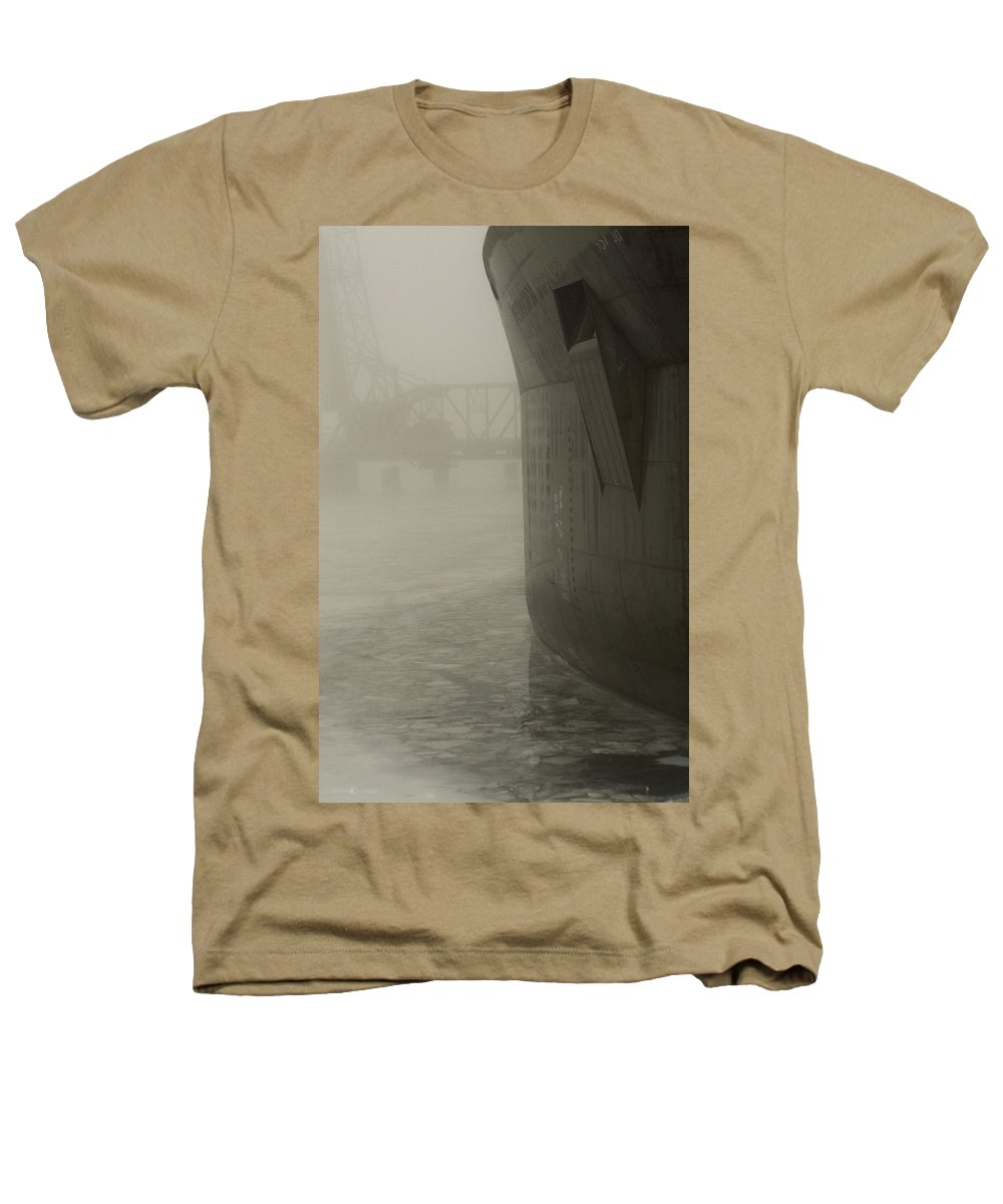 Water Heathers T-Shirt featuring the photograph Bridge And Barge by Tim Nyberg
