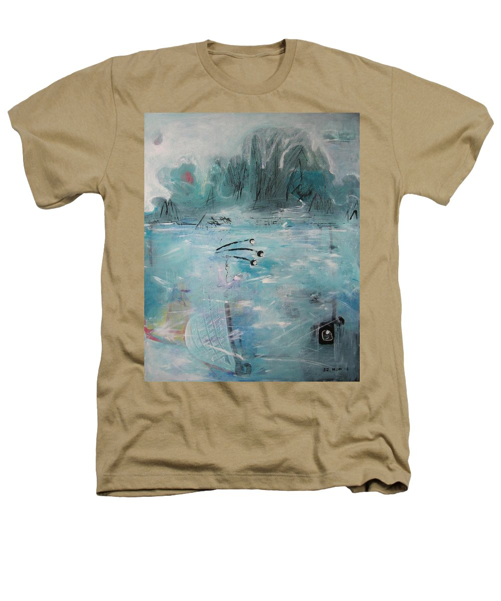 Abstract Paintings Heathers T-Shirt featuring the painting Brierly Beach by Seon-Jeong Kim