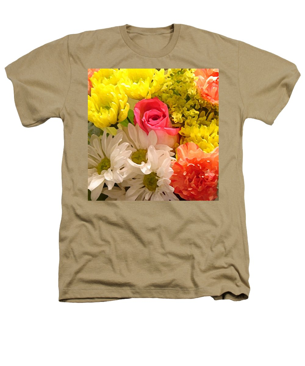 Floral Heathers T-Shirt featuring the painting Bright Spring Flowers by Amy Vangsgard