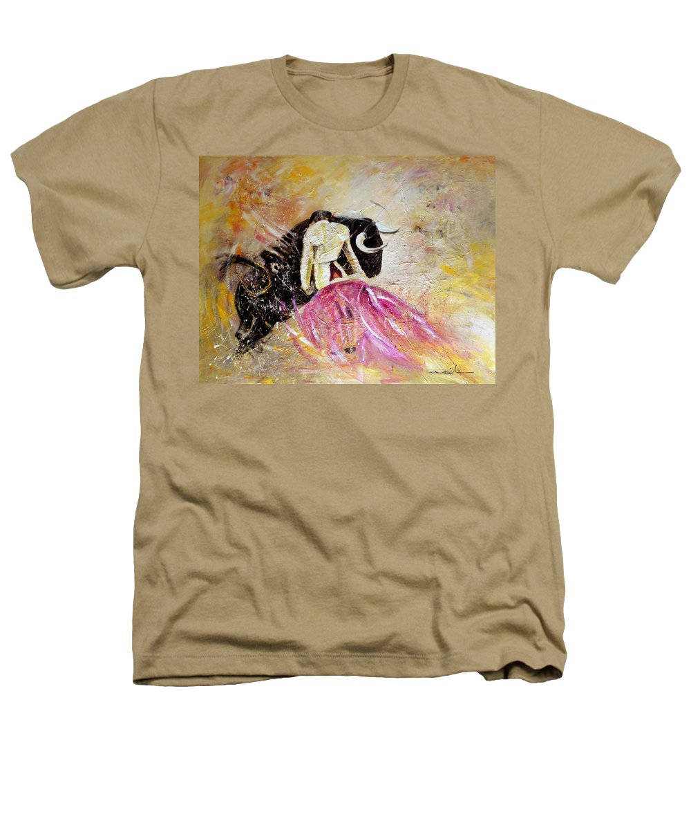 Animals Heathers T-Shirt featuring the painting Bullfight 74 by Miki De Goodaboom