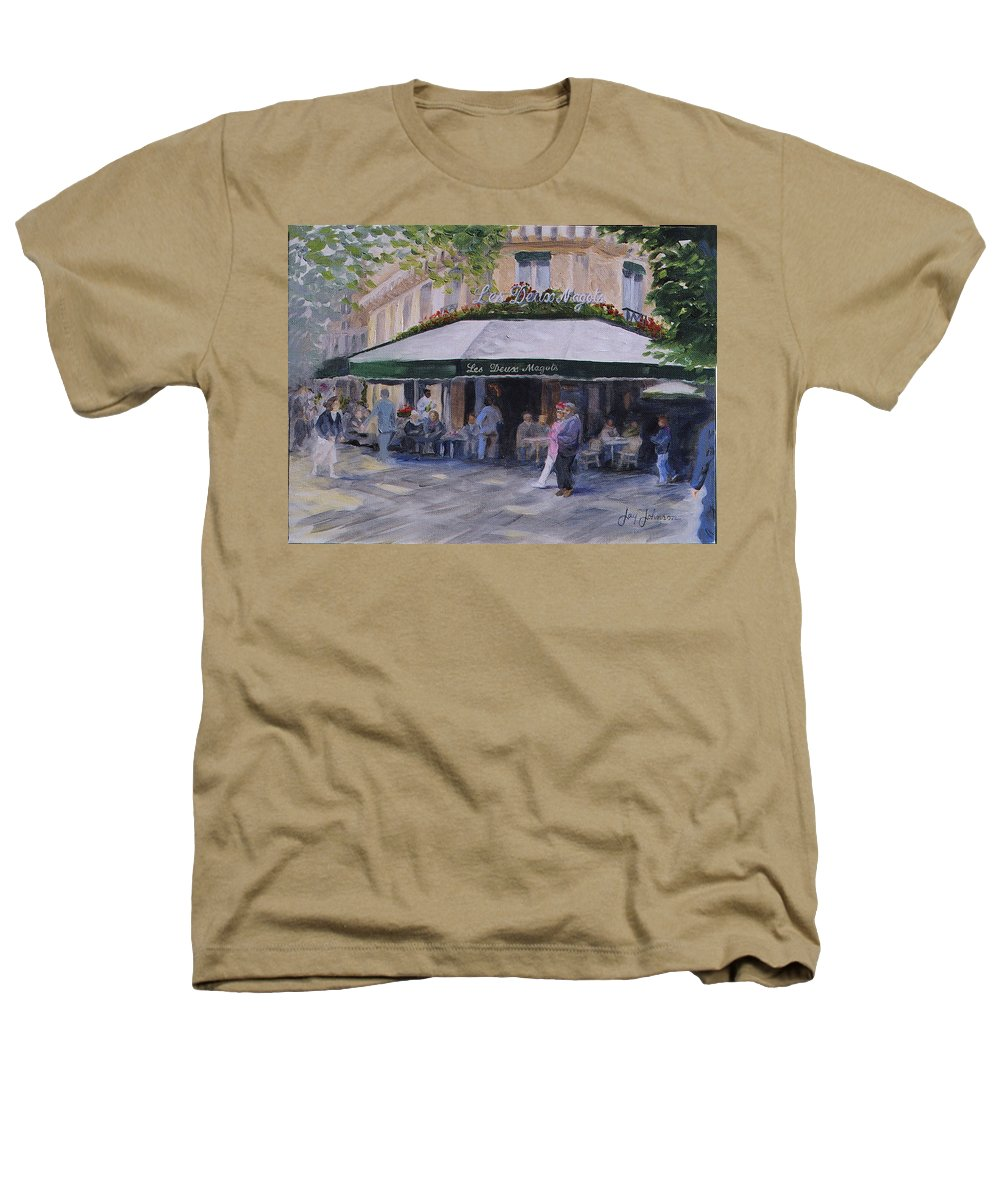 Cafe Magots Heathers T-Shirt featuring the painting Cafe Magots by Jay Johnson