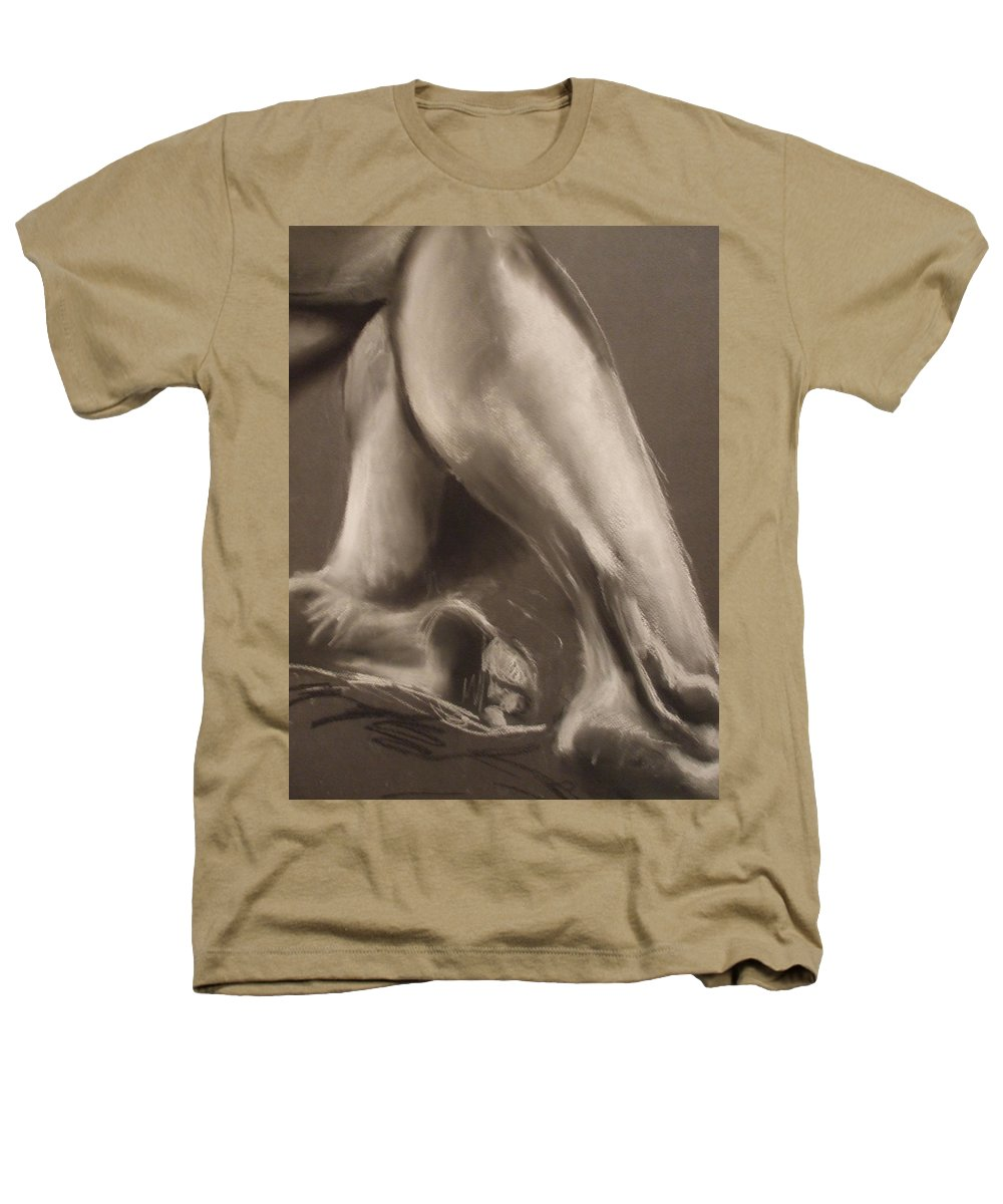 Legs Heathers T-Shirt featuring the drawing Calves And Feet by Julie Fischer