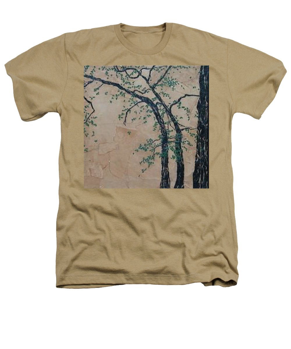 Leafy Tree Heathers T-Shirt featuring the painting Canandaigua Lake by Leah Tomaino