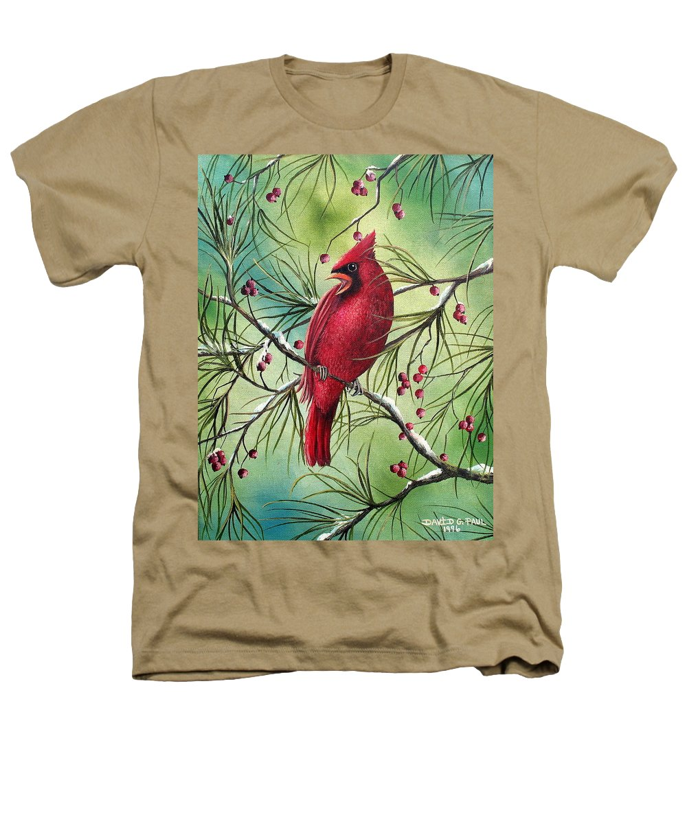 Cardinal Heathers T-Shirt featuring the painting Cardinal by David G Paul