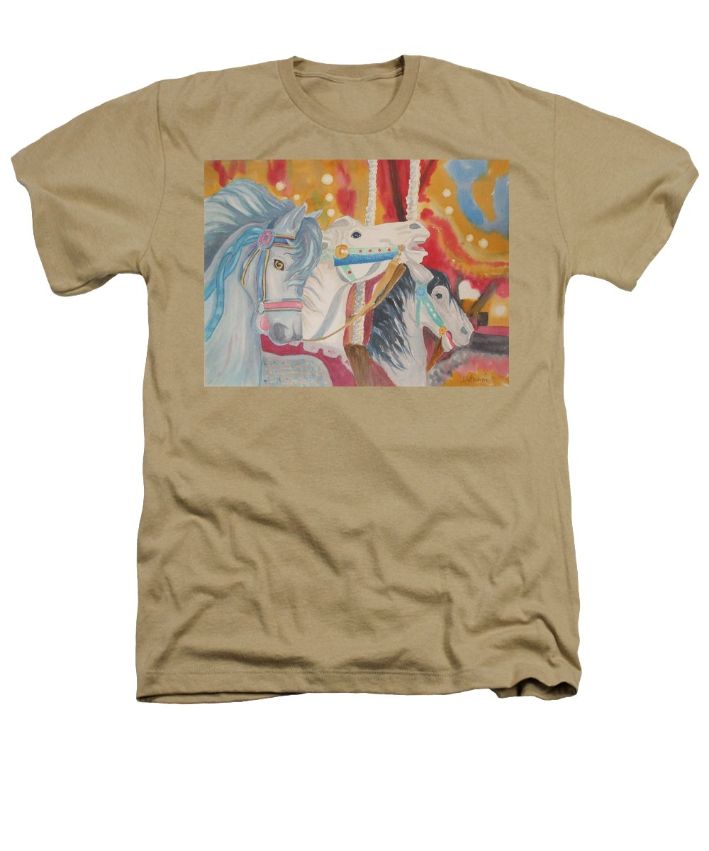 Carousel Heathers T-Shirt featuring the painting Carousel 1 by Ally Benbrook
