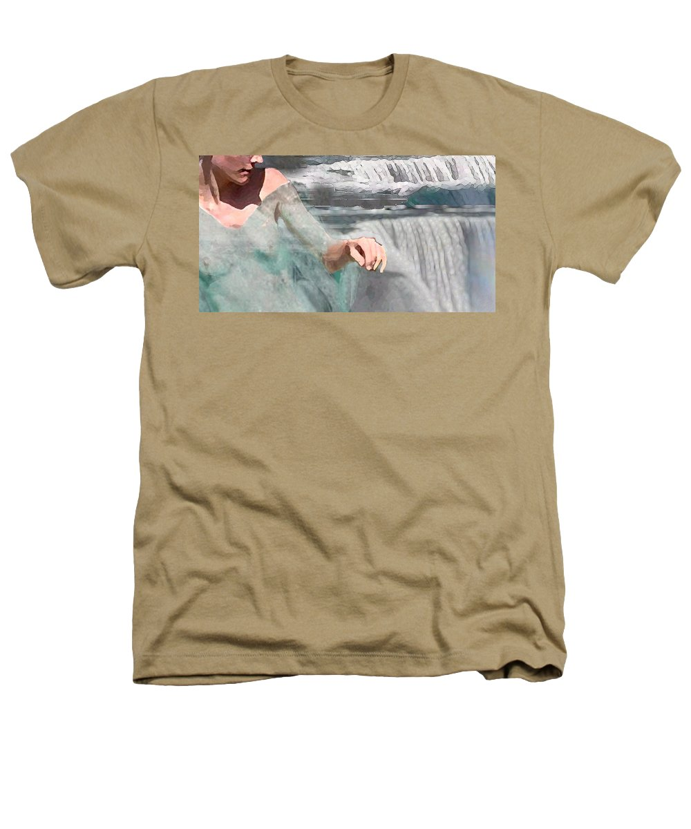 Waterscape Heathers T-Shirt featuring the digital art Cascade by Steve Karol