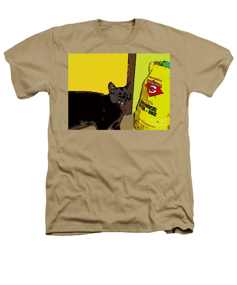 Photograph Cat Black Rice Yellow Critter Green Red Heathers T-Shirt featuring the photograph Cat And Rice by Seon-Jeong Kim