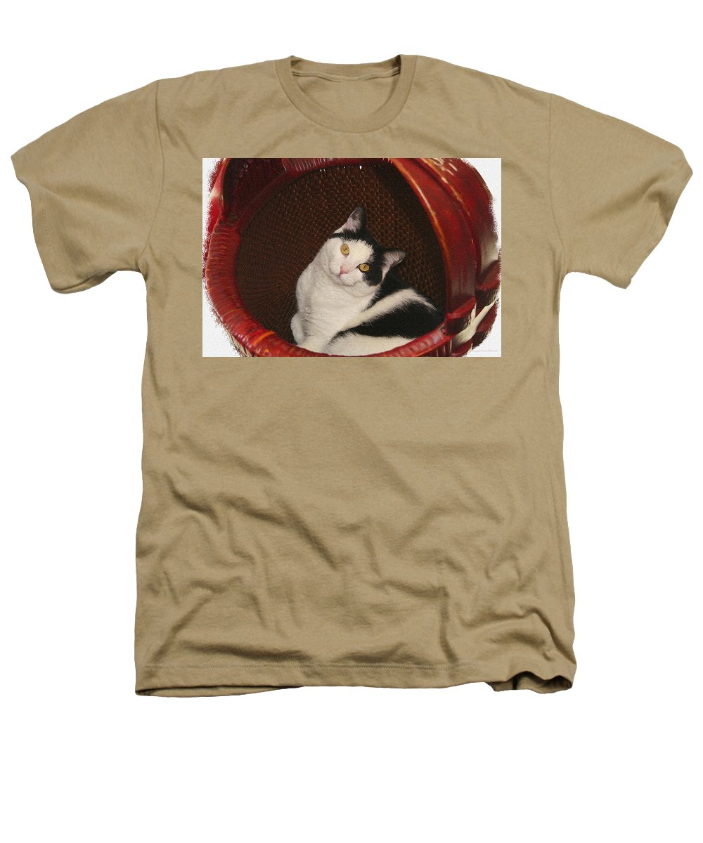 Cat Heathers T-Shirt featuring the photograph Cat In A Basket by Margie Wildblood