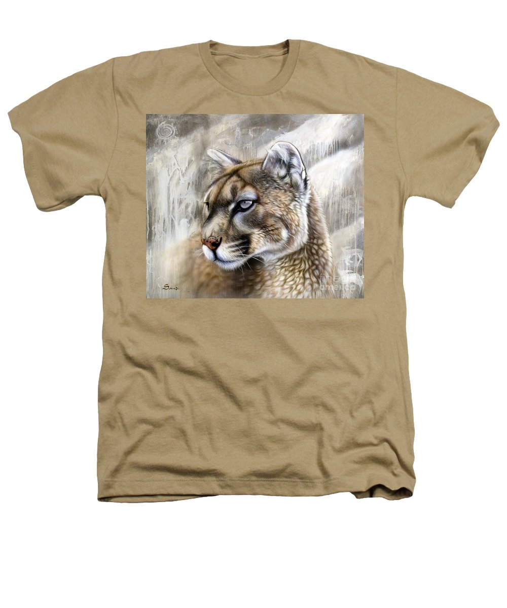 Acrylic Heathers T-Shirt featuring the painting Catamount by Sandi Baker