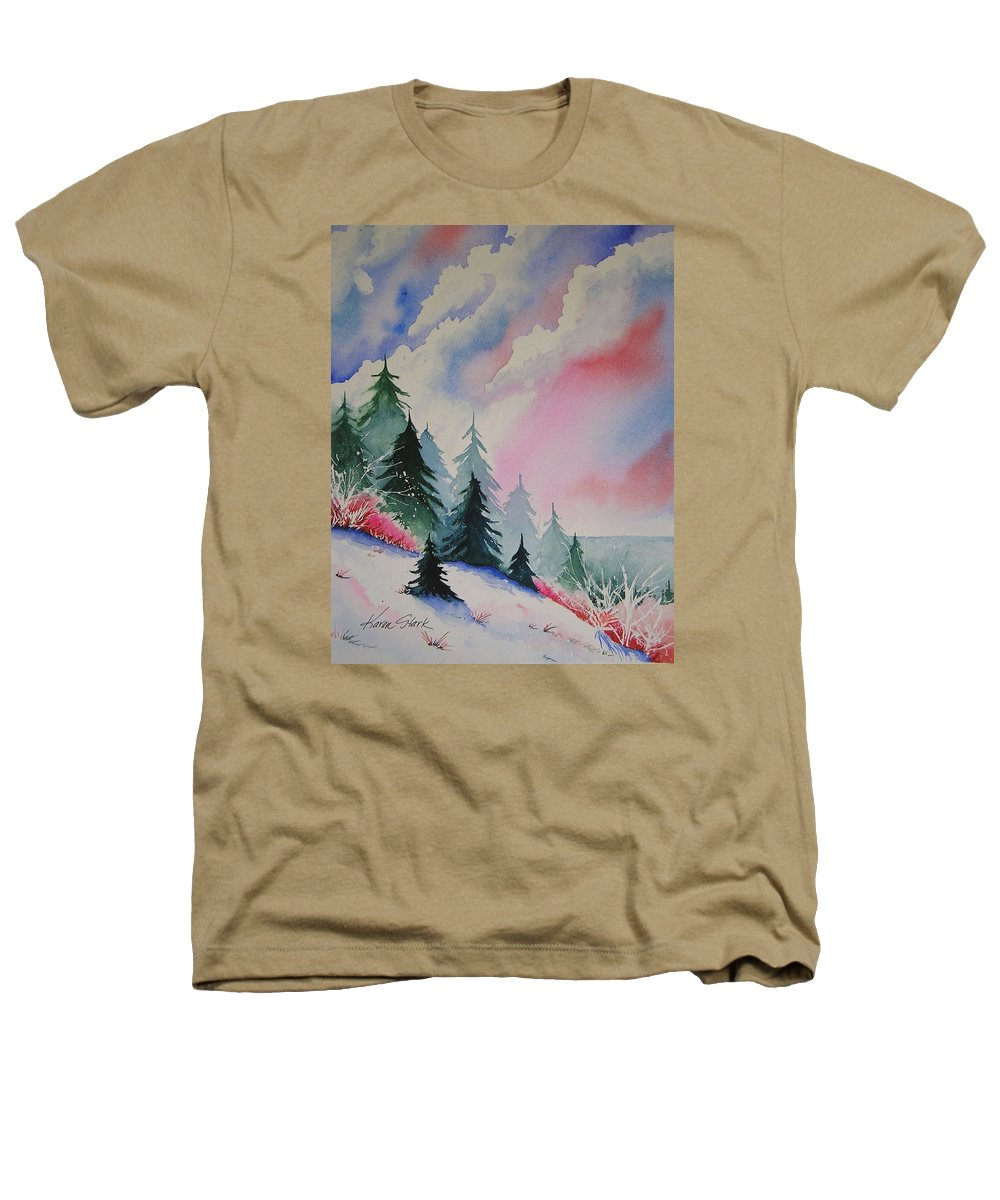 Snow Heathers T-Shirt featuring the painting Cedar Fork Snow by Karen Stark