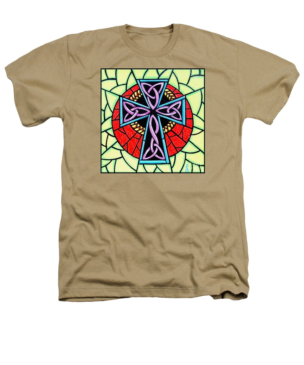 Celtic Heathers T-Shirt featuring the painting Celtic Cross by Jim Harris