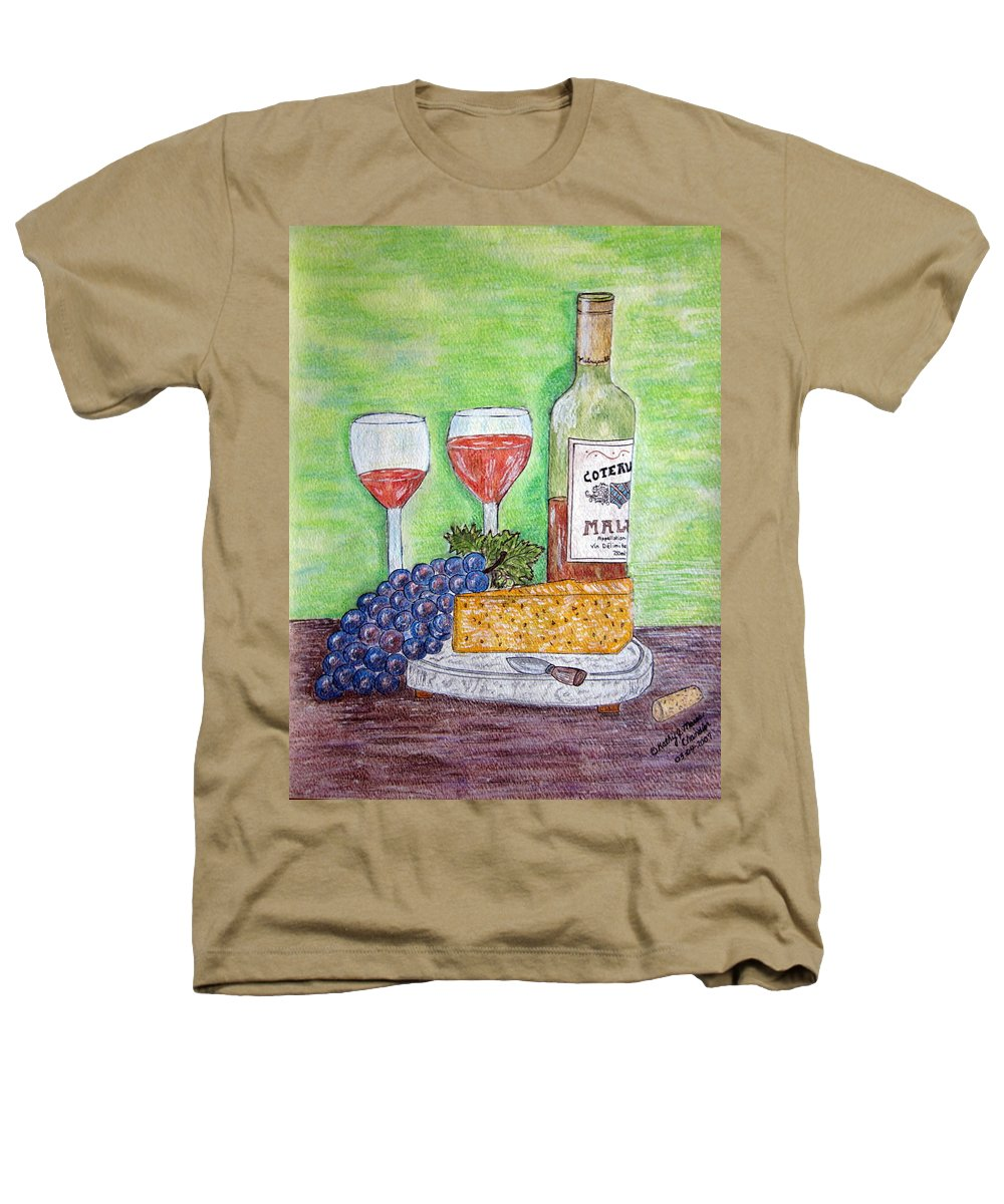 Cheese Heathers T-Shirt featuring the painting Cheese Wine And Grapes by Kathy Marrs Chandler