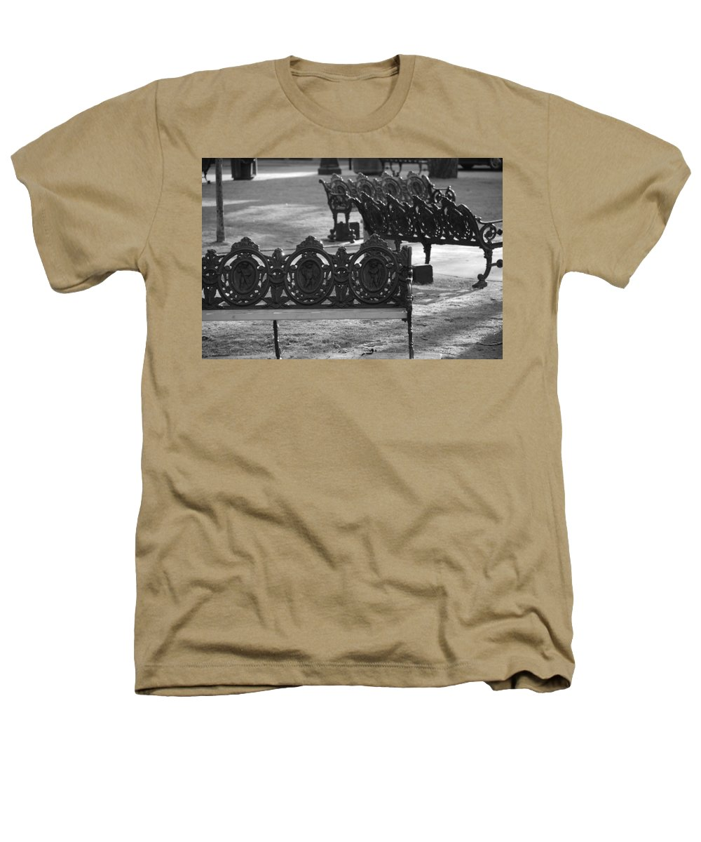 Black And White Heathers T-Shirt featuring the photograph Cherb Benches by Rob Hans