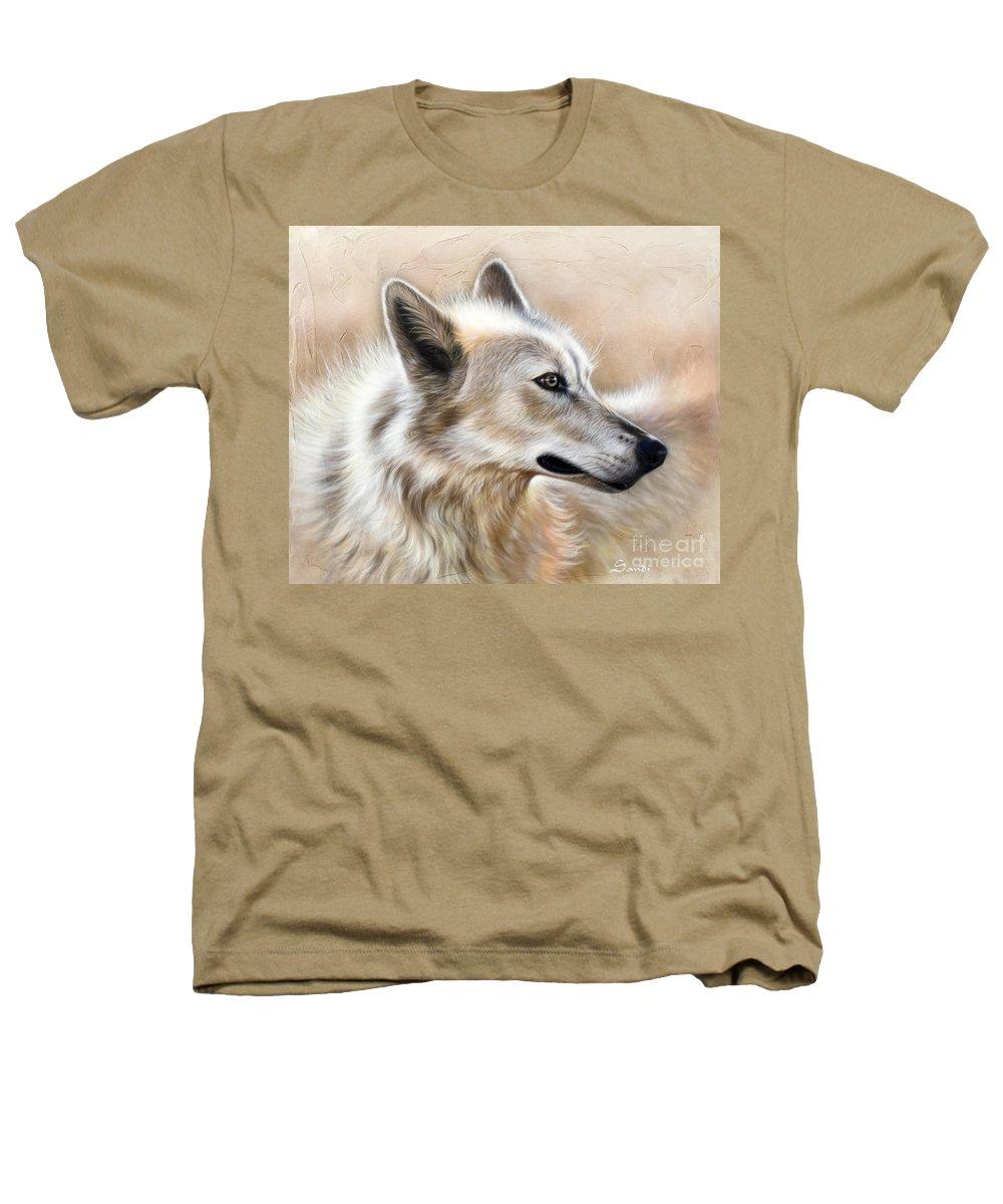 Acrylic Heathers T-Shirt featuring the painting Cheyenne by Sandi Baker